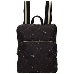 Chanel Black and White Quilted Printed Travel Line Backpack