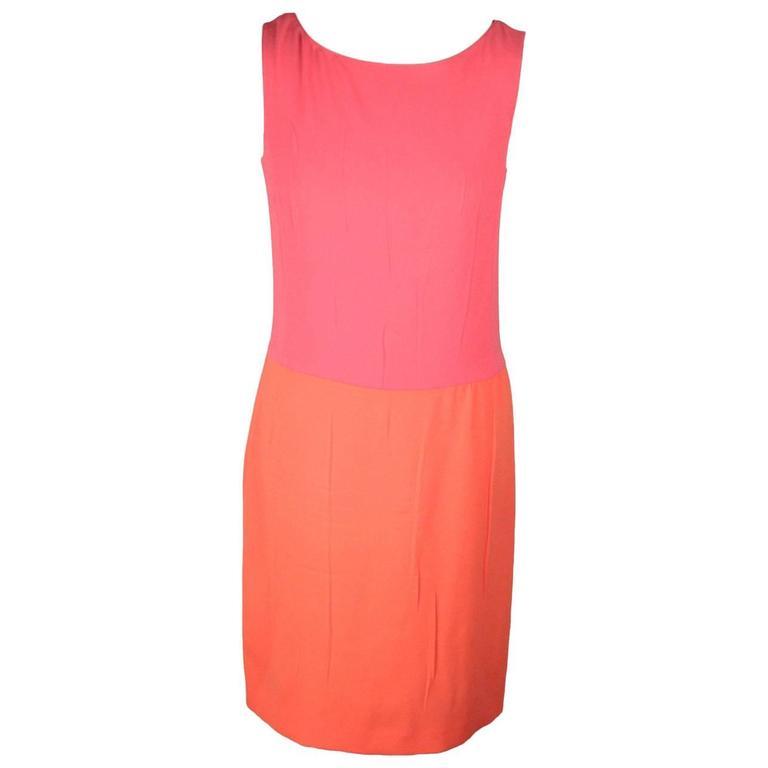c906af0c85f Authentic PRADA Pink   Orange COLOR BLOCK DRESS Sleeveless SIZE 40 For Sale