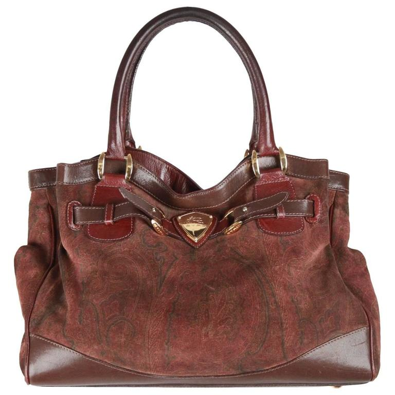7b061ab2c8e2 Etro Milano Brown Paisley Suede Tote Bag At 1stdibs