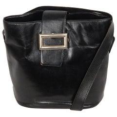 PRADA Vintage Black Leather TOTE SHOULDER BAG Bucket
