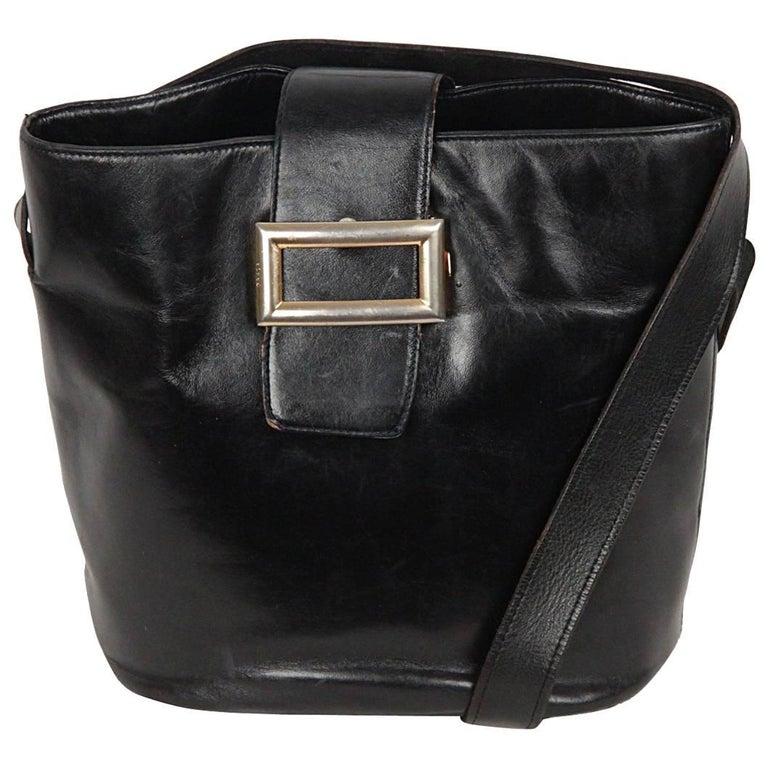 PRADA Vintage Black Leather TOTE SHOULDER BAG Bucket For Sale