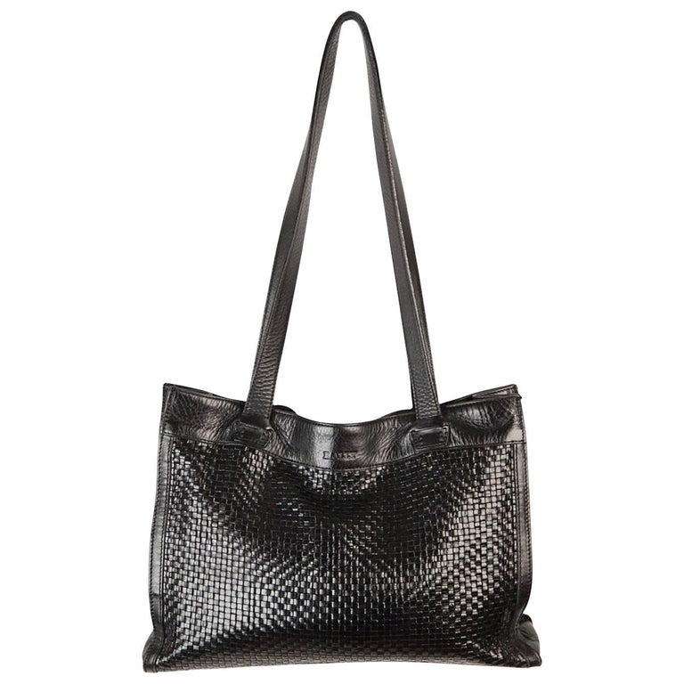 Bally Black Woven Leather Tote Shoulder Bag For Sale At