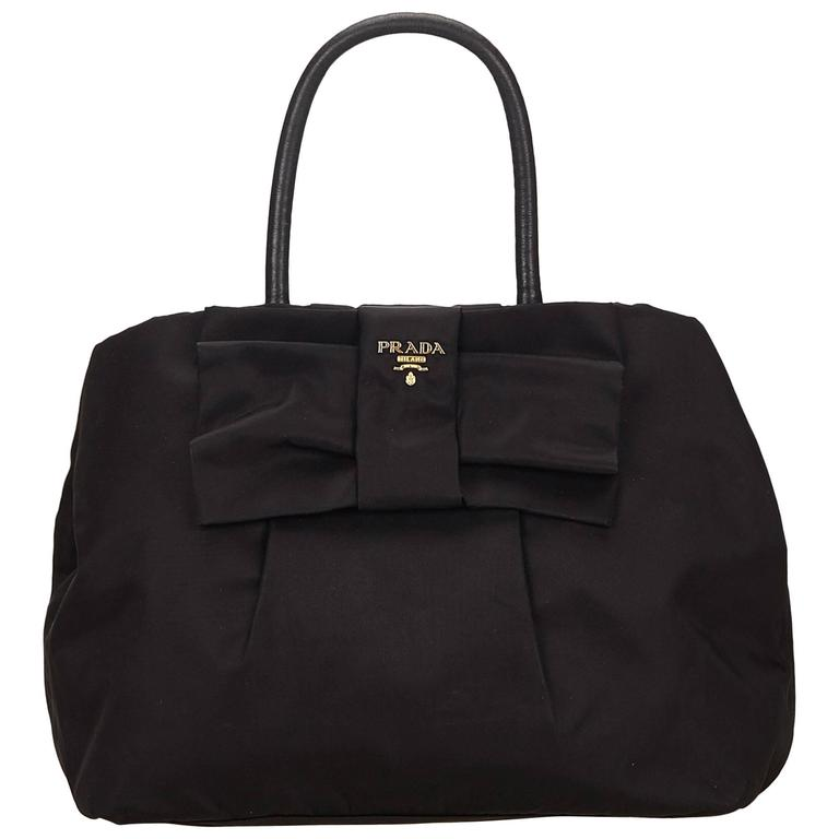6e21ee939738c7 Prada Black Nylon Tessuto Bow Tote Bag at 1stdibs