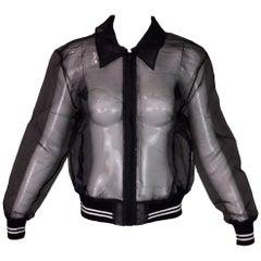 S/S 1995 Versus Gianni Versace Sheer Black Baseball Bomber Hip-Hop Jacket