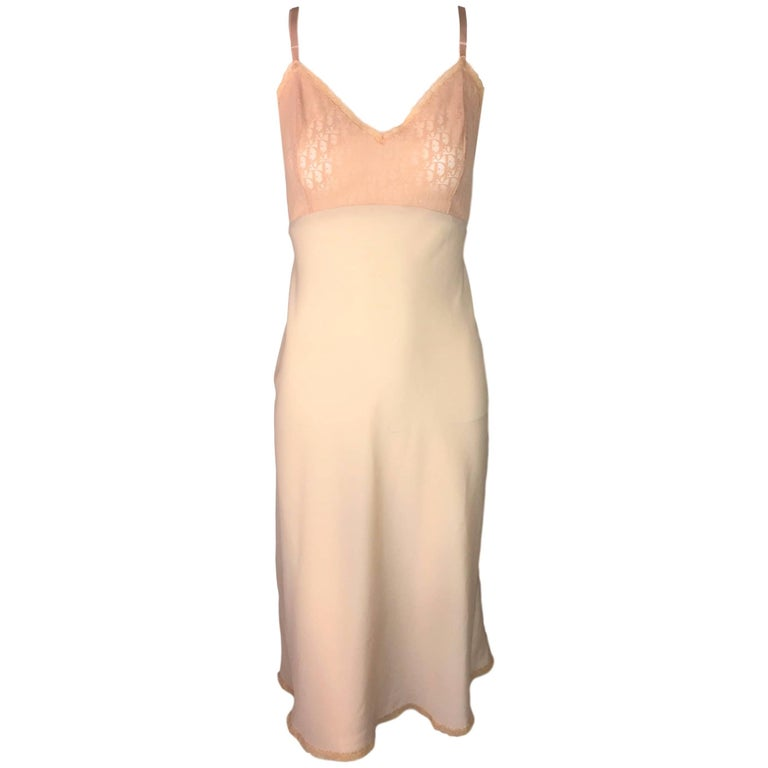 Christian Dior Nude Sheer Mesh Monogram Slip Dress, 1990s
