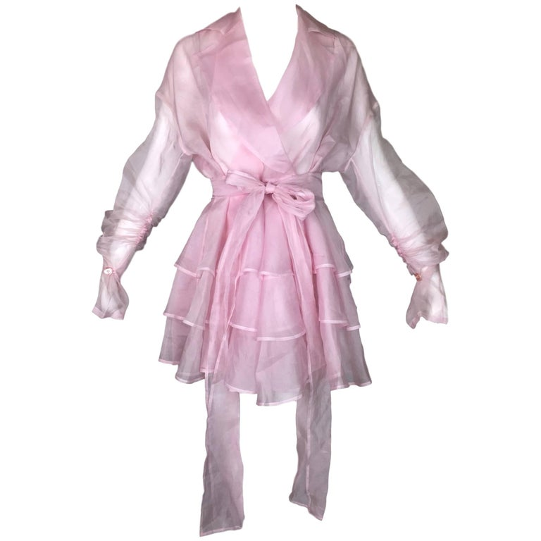 Dolce & Gabbana Sheer Baby Pink Silk Ruffle Dress Jacket, S/S 1992