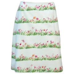C.1990 Moschino Cheap And Chic Fun Floral Cotton Skirt