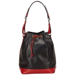 Louis Vuitton Black and Red Epi Noe Bi colour Bucket Shoulder Bag