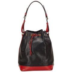 Louis Vuitton Black and Red Epi Noe Bi colour Bucket Shoulder Bag