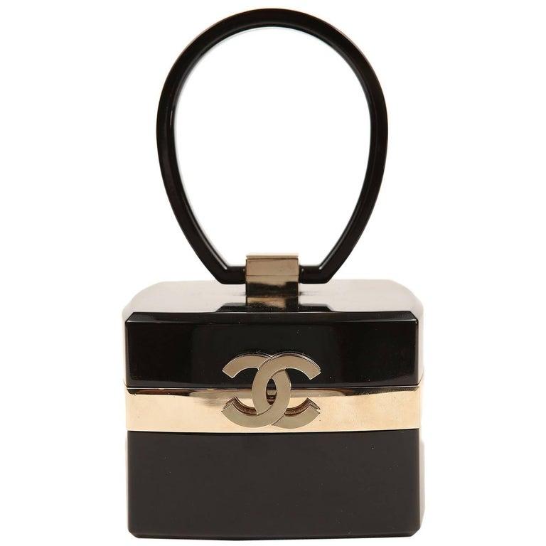 Chanel Black Lucite and Gold Devil Wears Prada Bag For Sale