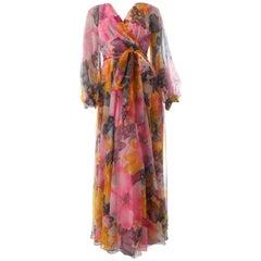 Jack Bryan by Dupuis Floral Chiffon Maxi Dress with Tie Wrap Belt Sz 8 70s