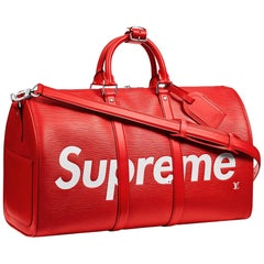 Louis Vuitton X Supreme Red Epi Keepall Bandouliere Duffle Bag 45