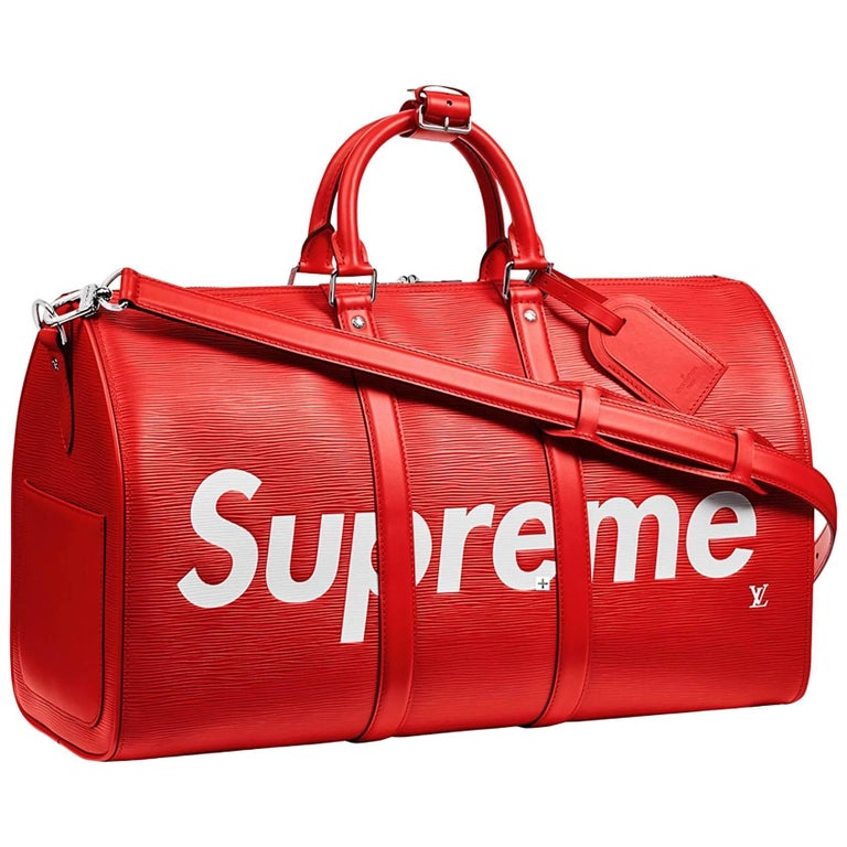 2da28904c12a Louis Vuitton X Supreme Red Epi Keepall Bandouliere Duffle Bag 45 For Sale