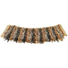 21st Century Chain Link Metal 3 Tone Fringe Bracelet