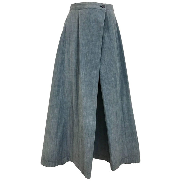 Vintage 1990s ISSEY MIYAKE Light Blue Denim Wrap Skirt