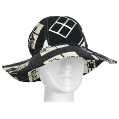 Vintage CHANEL Black and White COCO print Cotton Hat