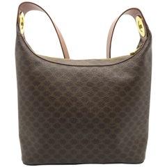 Celine Brown Coated Canvas Shoulder Bag
