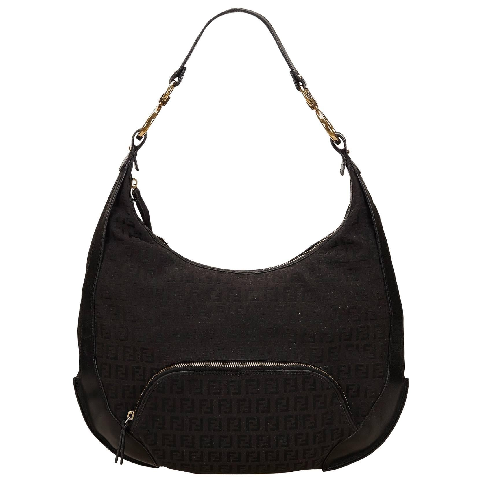 639f2bc2b21 ... czech fendi black zucchino jacquard shoulder bag for sale 5128b 1d0b8  ...