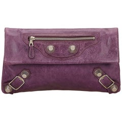 Balenciaga Purple Motocross Giant 21 Envelope Clutch