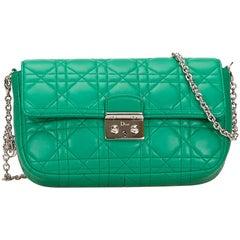 Dior Green New Lock Leather Shoulder Bag