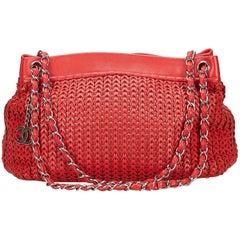 Chanel Red Woven Caviar Chain Shoulder Bag