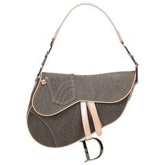 Dior Gray Denim Saddle
