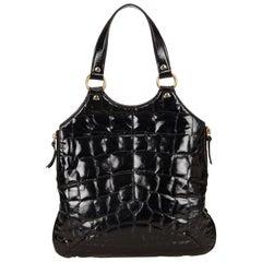YSL black Textured Patent Leather Metropolis
