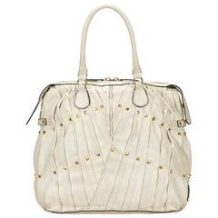 Valentino White Pleated Leather Handbag