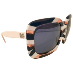 Dolce & Gabbana Lucite DG Logo Striped White Sunglasses
