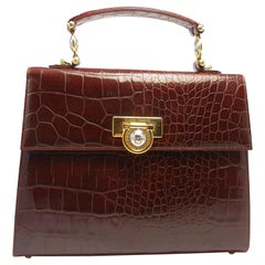 ICONIC Gianni Versace Faux Croc Kelly Handbag Vintage / Good Condition