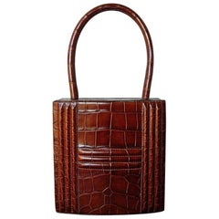 Rare Hermes Vintage Genuine Alligator Cardena Lock Box Bag