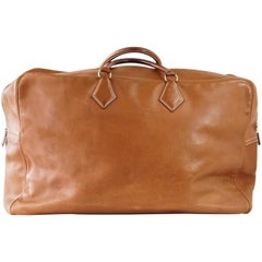 HERMES Plume 60 Vintage Bag Barenia Plume Gold Hardware Carry On Weekender
