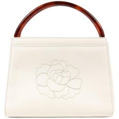 Chanel Vintage White Leather Camellia Day Bag with Bakelite Handles