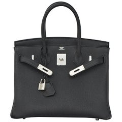 Hermes Birkin  Black 30cm Togo Palladium Hardware   NEW