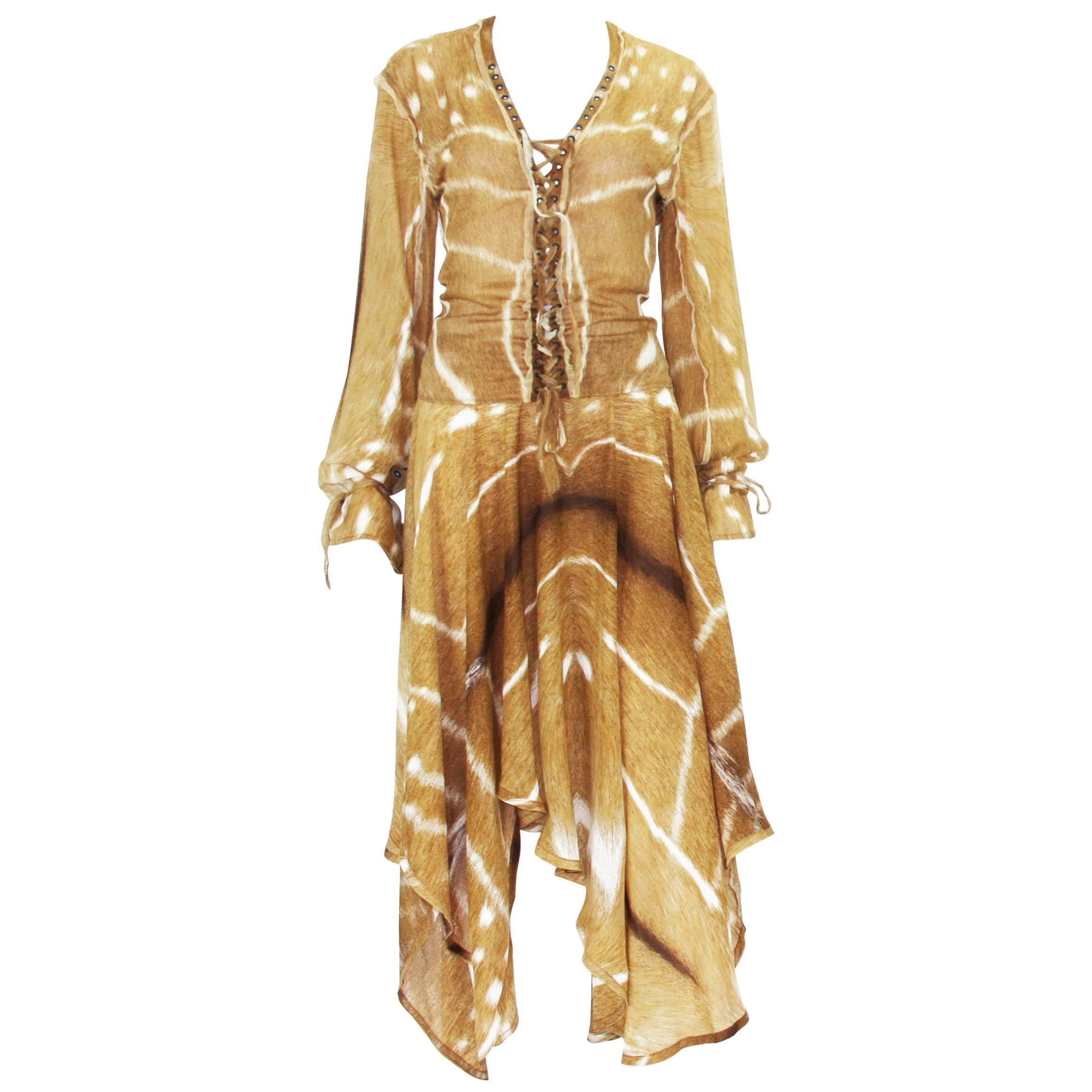 Tom Ford for Yves Saint Laurent S/S 2002 Safari Collection Silk Skirt Set Fr. 38