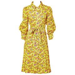 Galanos Patterned SIlk Shirt Dress