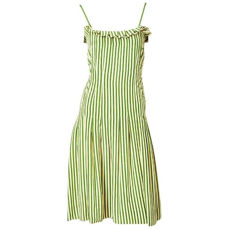 Galanos Striped Silk Sun Dress