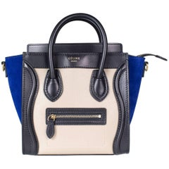 Celine Mini Tote in Black and Taupe rather with Royal Blue Suede