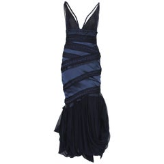 Gucci F/W 2005 Runway Collection Silk Midnight Blue Cocktail Dress It. 38 - US 4