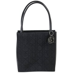 Small Christian Dior Black Canvas and Patented Leather Tote Bag