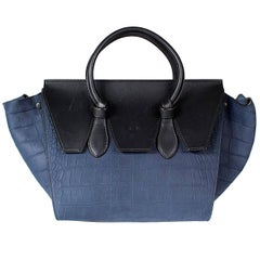 Celine Suede and Leather Trapeze Tote with Faux Croc Pattern/Texture