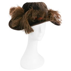 Edwardian Taupe Picture Hat w/ Feather Trim