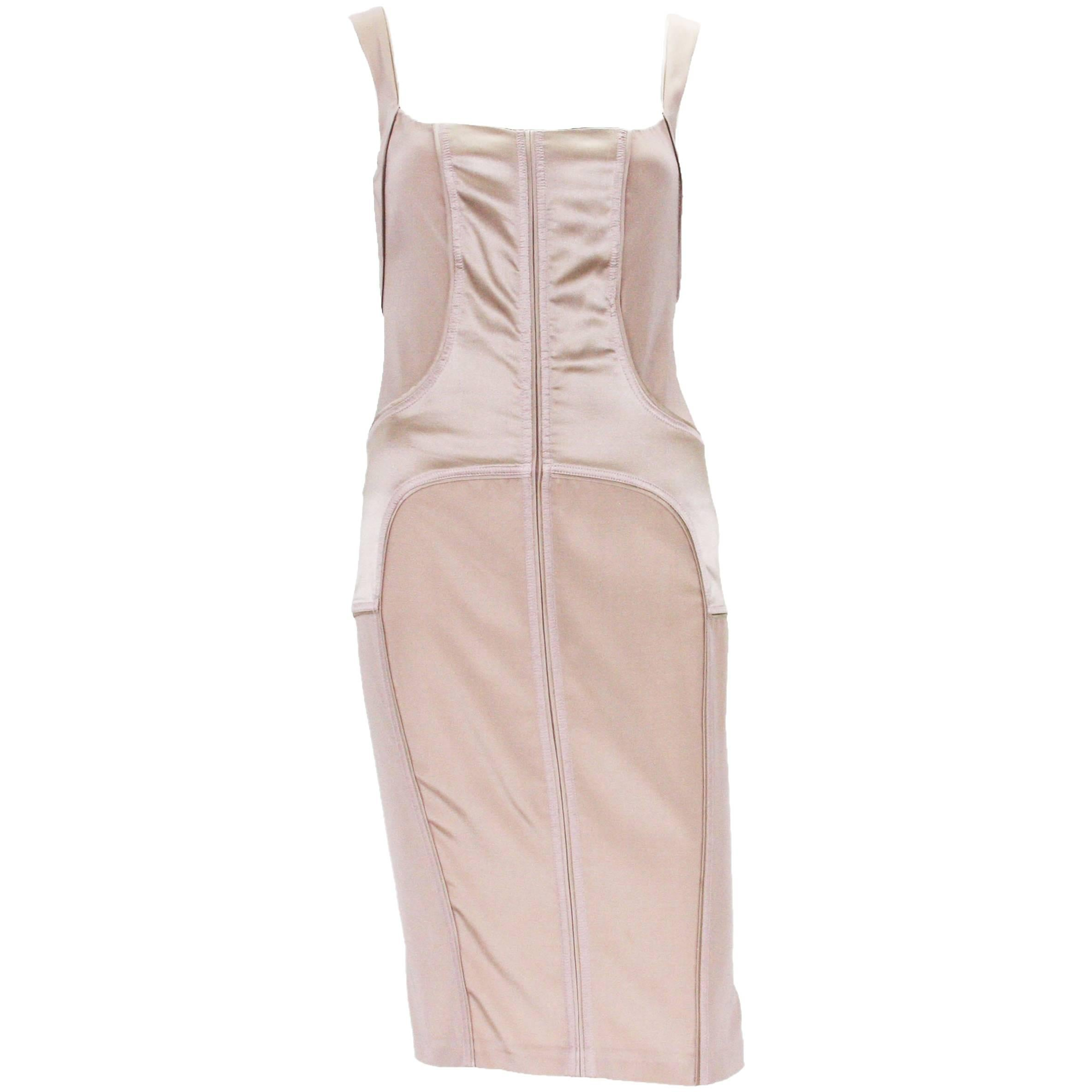 Tom Ford for Gucci 2003 Collection Silk Nude Stretch Bandage Dress It.38 - US 4