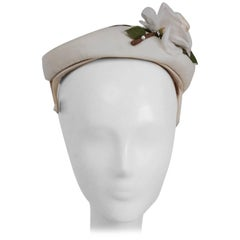 1950s White Hat w/ Rose