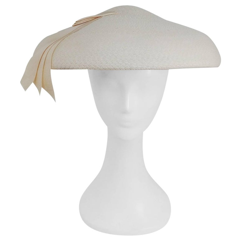 1950s New Look White Saucer Hat