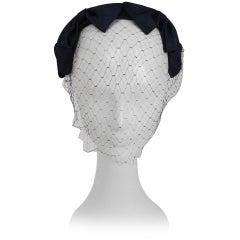 1950s Navy Ribbon Hat w/ Veil