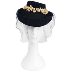 1940s Stetson Navy Veiled Hat w/ Yellow Contrast Embellishment
