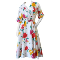 Beautiful 1980s Gucci Floral Linen Dress