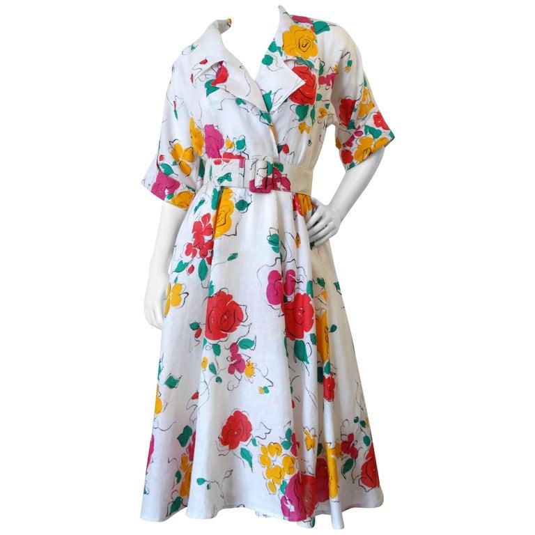 Beautiful 1980s Gucci Floral Linen Dress