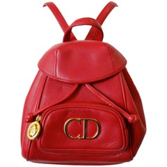 Christian Dior Lipstick Red Leather Mini Backpack